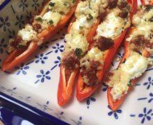 Gevulde paprika met chorizo en geitenkaas