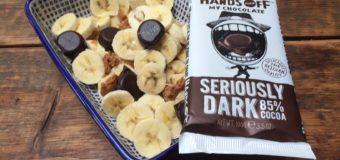 Ontbijt met banaan, pindakaas en hands off my chocolate WINACTIE